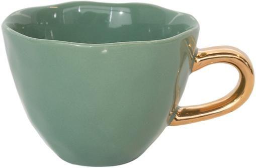 Tasse Good Morning in Dunkelgrün mit goldenem Griff