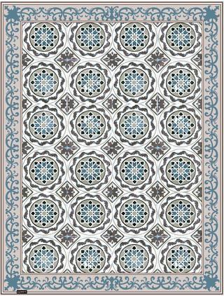 Flache Vinyl-Bodenmatte Selina in Beige/Blau, rutschfest