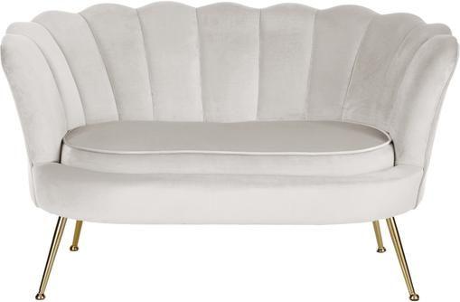 Samt-Sofa Oyster (2-Sitzer) in Beige mit Metall-Füßen