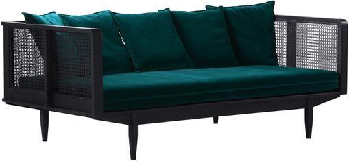 Samt-Sofa Big Sur (3-Sitzer) mit Wiener Geflecht