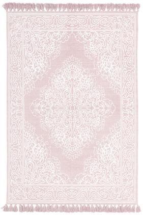 Vzorovaný bavlnený koberec so strapcami Salima, ručne tkaný