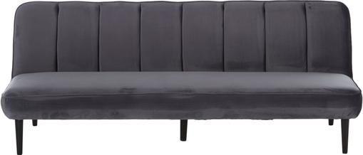 Samt-Schlafsofa Hayley in Grau mit Holz-Füßen, ausklappbar