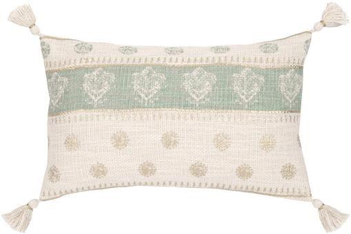 Kissenhülle Jasmine mit goldenen Details und Quasten