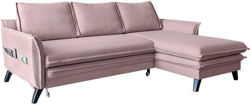 Divano letto angolare in tessuto rosa cipria con contenitore Charming Charlie