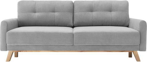 Samt-Schlafsofa Balio (3-Sitzer) in Hellgrau mit Stauraumfunktion, ausklappbar