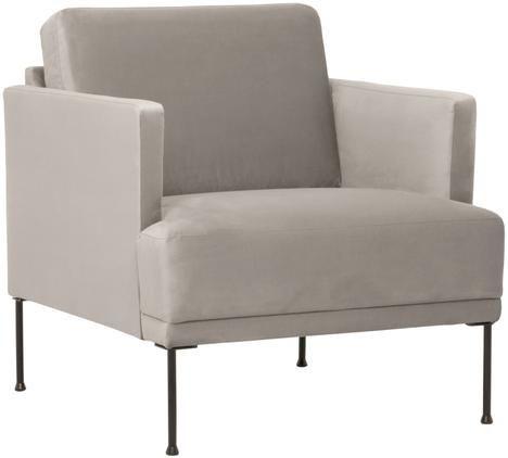 Samt-Sessel Fluente in Beige mit Metall-Füßen