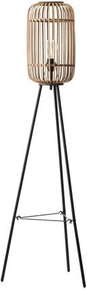 Boho-Stehlampe Woodrow mit Rattanschirm