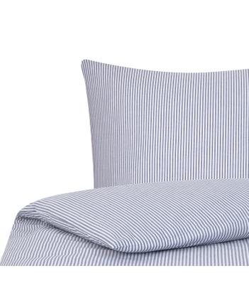 Baumwoll-Bettwäsche Ellie in Blau/Weiß, fein gestreift