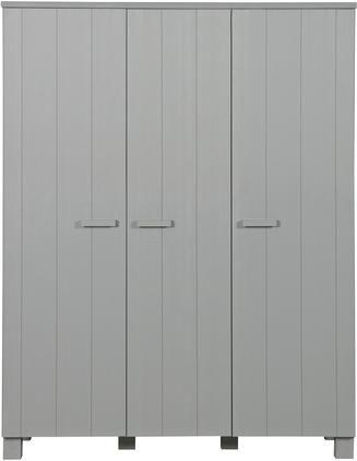 Armadio in legno di pino grigio chiaro Dennis