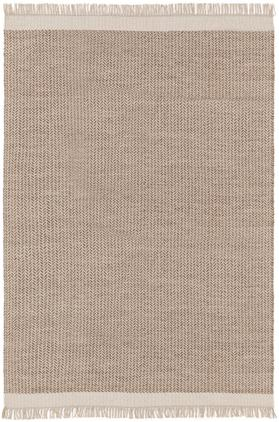 Alfombra artesanal de lana con flecos Kim