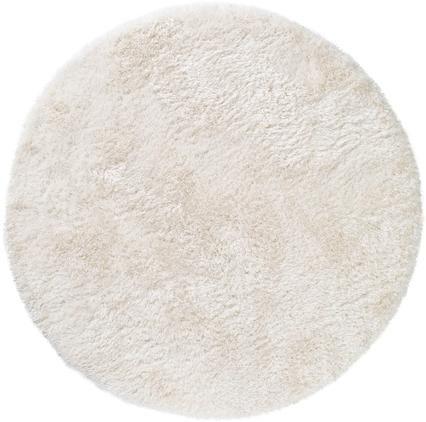 Glänzender Hochflor-Teppich Lea in Weiß, rund