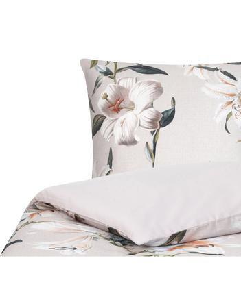 Baumwollsatin-Bettwäsche Flori in Beige mit Blumen-Print
