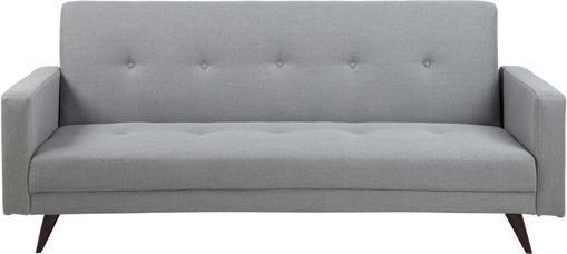 Schlafsofa Leconi (3-Sitzer) in Hellgrau mit Holz-Füßen, ausklappbar