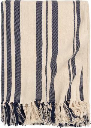 Gestreifte Tagesdecke Juarez aus Baumwolle in Dunkelblau/Weiß