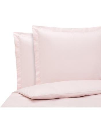 Baumwollsatin-Bettwäsche Premium in Rosa mit Stehsaum