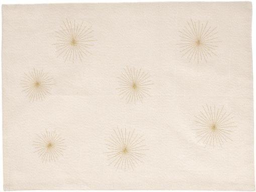 Baumwoll-Tischsets Aurum mit goldfarbenem Motiv, 2 Stück