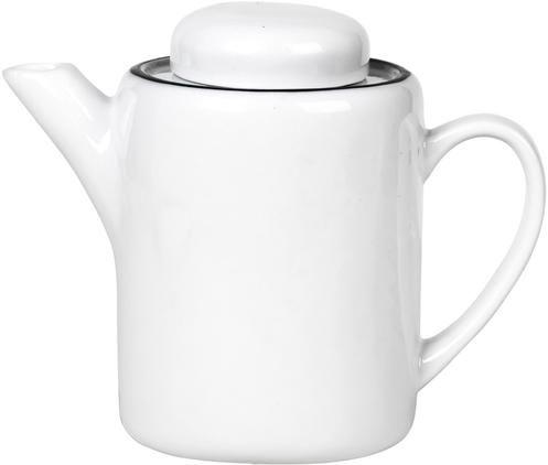 Handgemachte Porzellan Teekanne Salt mit schwarzem Rand, 1.3 L