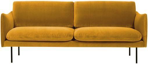 Divano 2 posti in velluto giallo senape Moby
