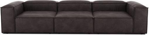 Modulares Sofa Lennon (4-Sitzer) in Braungrau aus recyceltem Leder