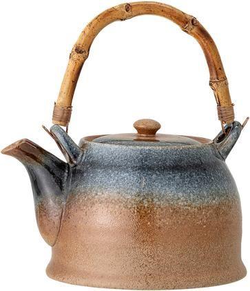 Handgemachte Porzellan Teekanne Aura mit Teesieb und Bambusgriff, 1 L