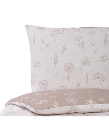 Mako-Satin-Wendebettwäsche Leone in Rosa mit Pusteblumen