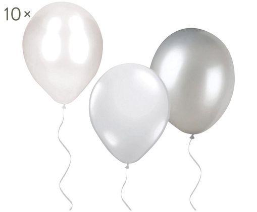 Luftballons We Heart, 30 Stück, Latex, Weiß, Silberfarben, Ø 16 x H 16 cm