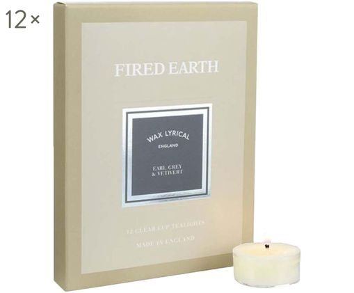 Teelichter Fired Earth, 12 Stück (Earl Grey & Vetiver), Wachs, Kunststoff, Beige, 16 x 2 cm