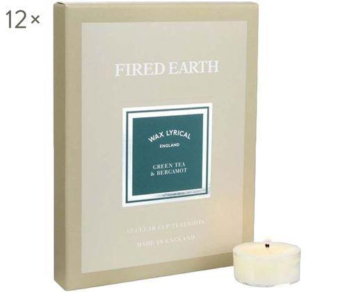 Teelichter Fired Earth, 12 Stück (Grüner Tee & Bergamotte), Wachs, Kunststoff, Beige, 16 x 2 cm