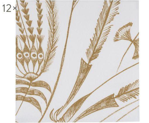 Tovaglioli di carta Bukit Jambul, 12 pz., Carta, Bianco, marrone, Larg. 33 x Lung. 33 cm