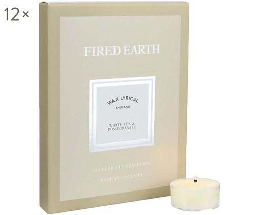 Teelichter Fired Earth, 12 Stück (Weißer Tee & Granatapfel), Beige