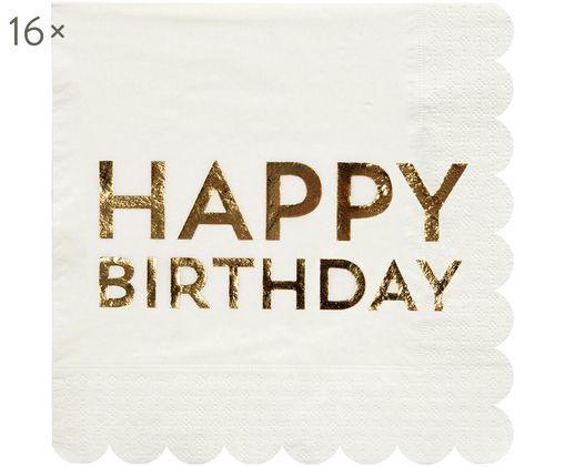 Tovaglioli di carta Birthday, 16 pz., Carta, Bianco, dorato, Larg. 33 x Lung. 33 cm