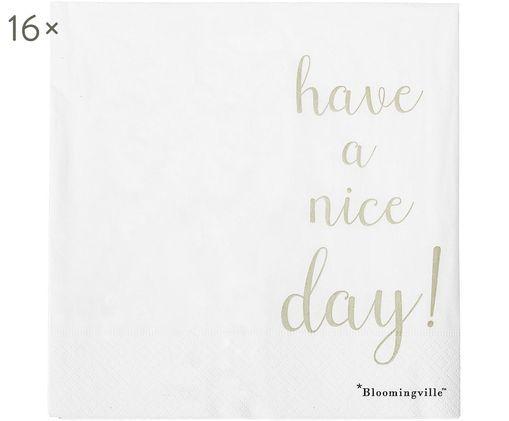 Tovaglioli di carta Nipps, 16 pz., Carta, Bianco, dorato, Larg. 40 x Lung. 40 cm