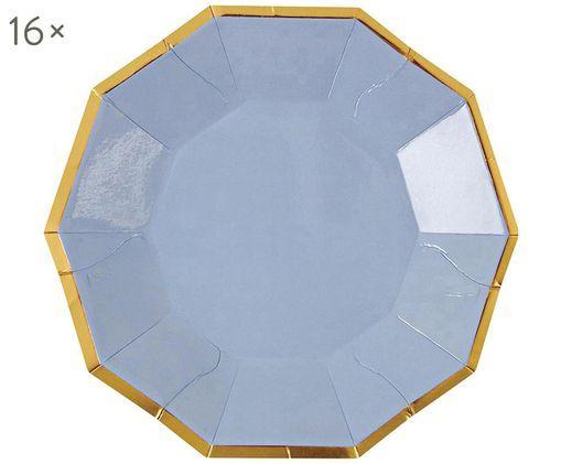 Papp-Teller Bloom, 16 Stück, Hellblau, Goldfarben