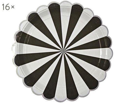 Papp-Teller Circus, 16 Stück, Schwarz, Weiß