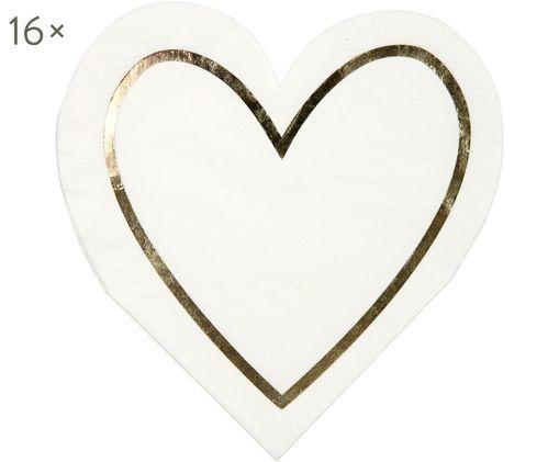 Papierservietten Heart, 16 Stück, Papier, Weiß, Goldfarben, 13 x 13 cm