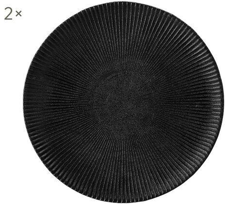 Frühstücksteller Neri mit Rillenstruktur in Schwarz matt, 2 Stück