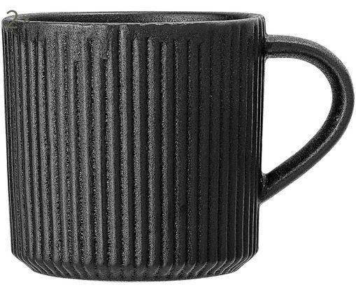 Tassen Neri mit Rillenstruktur in Schwarz matt, 2 Stück
