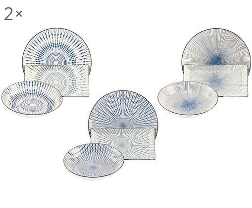 Geschirr-Set Skiathos mit feinem Muster in Blau/Weiß, 6 Personen (18-tlg.)