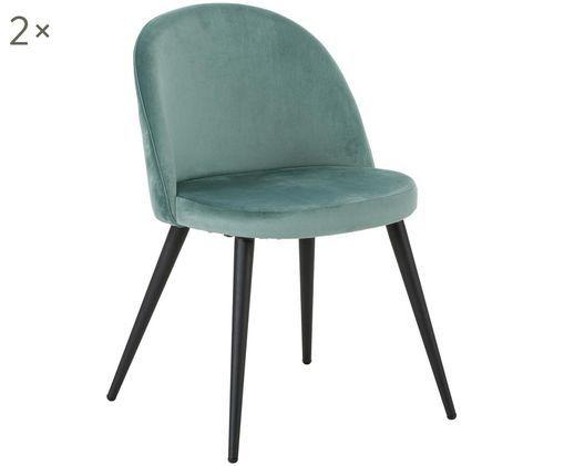 Fluweel gestoffeerde stoelen Amy, 2 stuks, Bekleding: fluweel (100% polyester), Poten: gepoedercoat metaal, Turquoise, B 47  x D 55 cm