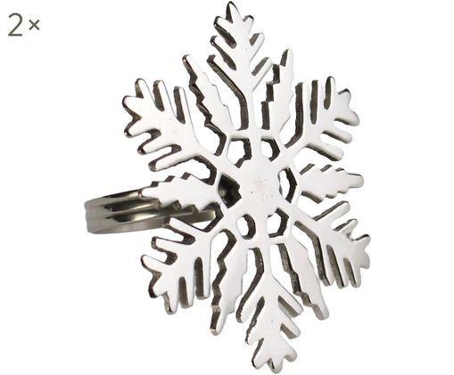 Serviettenringe Schneeflocke, 2 Stück, Metall, Metall, Ø 7 x H 7 cm