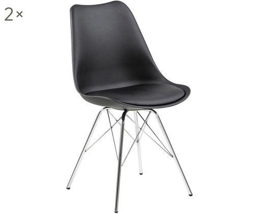 Krzesło z tworzywa sztucznego Eris, 2 szt., Nogi: metal chromowany, Czarny, chrom, S 54 x G 49 cm