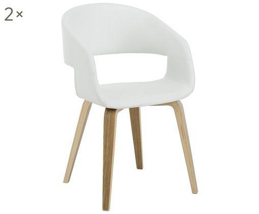 Chaises à accoudoirs en cuir synthétique Nova, 2pièces, Blanc, chêne