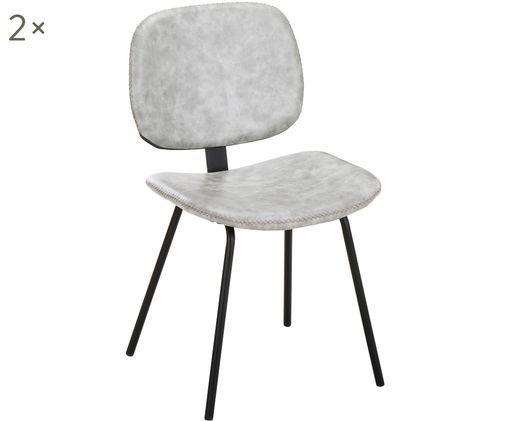 Chaises en cuir synthétique rembourrées Liam, 2pièces, Revêtement: gris Pieds: noir, mat