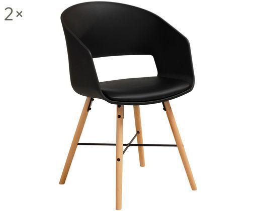Armlehnstühle Luna im Skandi Design, 2 Stück, Beine: Buchenholz, lackiert, Sitzfläche: Schwarz Beine: Buchenholz, glänzend, 52 x 81 cm