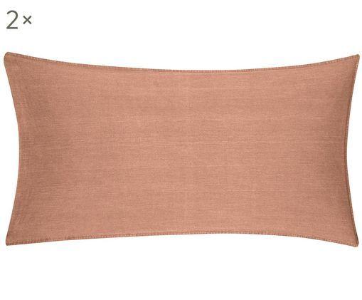 Gewaschene Baumwoll-Kissenbezüge Arlene in Apricot, 2 Stück, Webart: Renforcé, Apricot, 40 x 80 cm