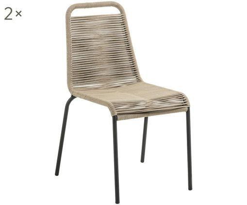Gartenstühle Lambton mit Kunststoff-Geflecht, 2 Stück, Sitzfläche: Polyethylen-Geflecht, Gestell: Metall, pulverbeschichtet, Schwarz, Hellbraun, B 49 x T 59 cm