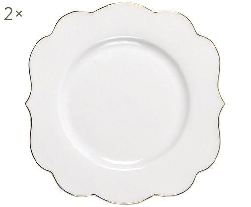 Dessertteller Royal, 2 Stück, Porzellan, Weiß, Goldfarben, Ø 17 cm