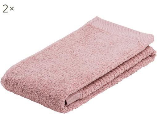 Handtücher Clas mit Streifenstruktur, 2 Stück, Rosa, 50 x 100 cm