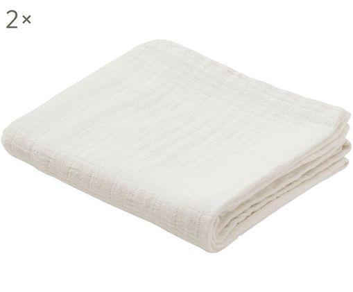 Mulltücher Muslin aus Bio-Baumwolle, 2 Stück, Bio-Baumwolle, GOTS-zertifiziert, Creme, 70 x 70 cm