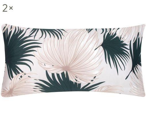 Baumwollsatin-Kissenbezüge Aloha, 2 Stück, Webart: Satin, Vorderseite: Beige, GrünRückseite: Beige, 40 x 80 cm